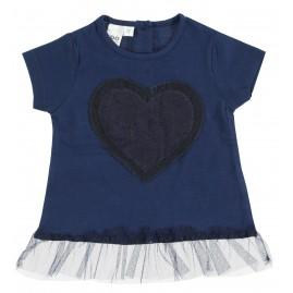 Μπλούζα Κοντομάνικη καρδιά μπλε
