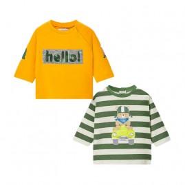 Σετ 2 μακρυμαν μπλουζ με εικοπρασινο