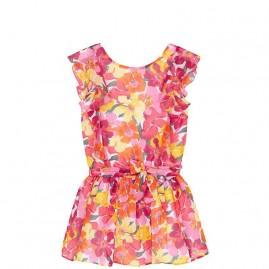 Φορεμα γαζα λουλουδια         κοραλι